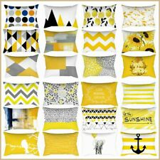"12x20"" Yellow Soft Home Decor Cushion COVER Gray Floral Lumbar Bed Pillow Case"