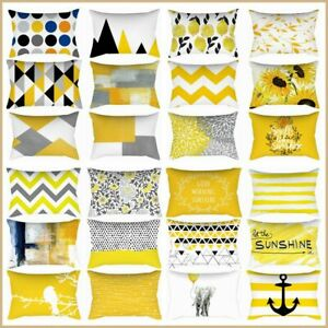 """12x20"""" Yellow Soft Home Decor Cushion COVER Gray Floral Lumbar Bed Pillow Case"""