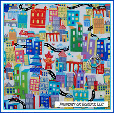BonEful Fabric FQ Cotton Quilt Route 66 Travel NYC City China Town Car Map World