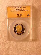 2007-W 1/2 Oz GOLD $10 First Spouse Martha Washinton ANACS PF69 PF-69 2008 Coin