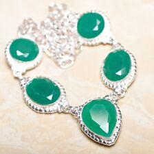 "Handmade Green Emerald Gemstone 925 Sterling Silver Necklace 20"" #N01248"
