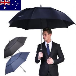 "27"" Large Golf Umbrella Auto Open Premium Double Canopy Vented Windproof UVproof"