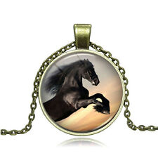 Vintage Flying horse Cabochon Photo Bronze Glass Chain Pendant Necklace #Y277