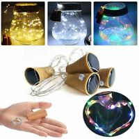 Useful Solar Wine Bottle Cork Shaped String 10 LED Night Fairy Light Lamp Xmas