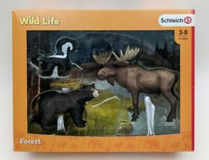 New Schleich North American Forest Dwellers Set Pack #41456 Moose Bear Skunk