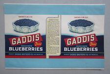 Old Vintage - GADDIS BLUEBERRIES - CAN LABEL - East Machias MAINE