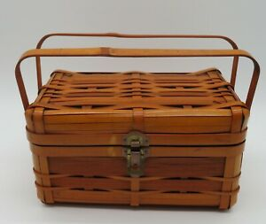 Vintage Double Handle Bamboo Basket Purse Storage Made in Japan snap lock front