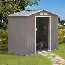 7'x4' Garden Storage Shed Metal Storage House w/ Floor Foundation Patio Steel