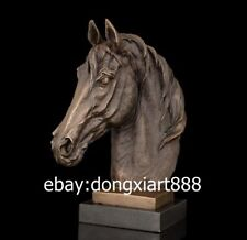 Western Art Deco Bronze Marble Steed Horse Equine Sitting Room Bust Sculpture