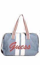 Guess Denim Duffle Bag/Travel/Gym/Weekender Light Denim Blue/White/Red