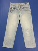 Rockers jeans uomo usato denim W34 tg 48 destroyed boyfriend straight fit T3403