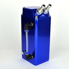 Universal Oil Catch Tank (Blue) Square Blow By Breather Can (with fittings)