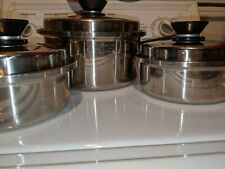 3 Amway Queen Stainless Steel Cookware Multi Ply USA waterless Saucepans & lids