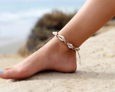 Women's Cowrie Beach Anklet Natural Shell and Wood Beads Bohemian Ankle Bracelet