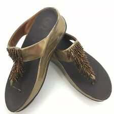 Fitflop Chacha Thong Sandals Beaded Nimbus Gold Slip On Casual Women's US 9
