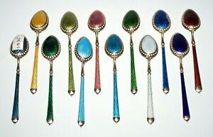 12Pc Norway Sterling Silver & Multicolor Enamel Demi Tasse Spoons signed (AkC)