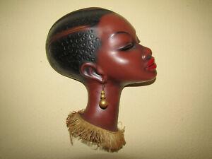 Cortendorf Wandmaske Afrikanerin Keramik Frau 50er 60er Jahre