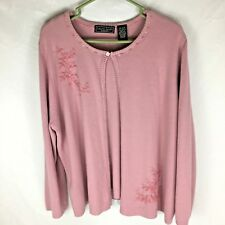 Laura Scott Plus Size 20/22 Women's Sweater Cardigan Pink Embroidered (DD#