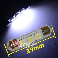 2 LED Siluro 39mm 3 SMD BIANCO Lampade Luci Xenon Lampadine Interno/Targa