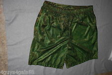 Mens Athletic Shorts GREEN CAMO MESH NET OVER LIME GREEN LINING 2 Pkts XL 40-42