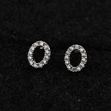 LOVELY SMALL 18K WHITE GOLD PLATED GENUINE CLEAR AUSTRIAN CRYSTAL STUD EARRINGS