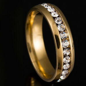Around Crystal Ring Womens Mens Jewelry Band Rings Wedding Engagement Size 8