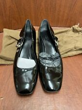 Gucci Black Patent Leather Womens Square Toe Block Heel Loafers Sz 10B Excellent