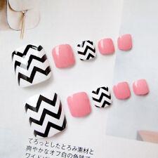 24Pcs Fashion Wave False Fake Holiday Toe Nails Acrylic Toe Nail Tips Art 2018