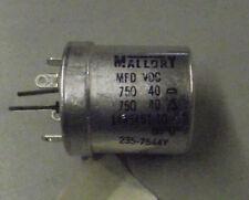 Vintage Mallory dual Electrolytic Cap 750/750@40vdc 85c 1445461-10
