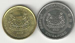 2 DIFFERENT COINS from SINGAPORE - 5 & 10 CENTS (BOTH DATING 2013)
