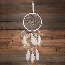 Large White Suede Dream Catcher with Feathers - 78cm Total Length