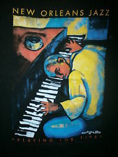 PLAYING FOR TIPS SHIRT Piano Jazz MARGARET SLADE KELLEY Black Heritage vtg 90s S