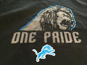 MENS MAJESTIC NFL Detroit Lions Long Sleeve SHIRT BLACK XXL 2XL/2XG  NWT