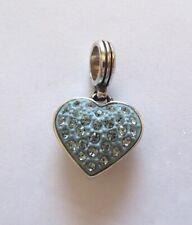 Brighton Cupid's Kiss Heart Crystal Heart Charm-- silver -light blue crystals