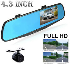 "4.3"" Dual Lens Full 1080P Wide Angle Car DVR Camera Recorder Dash Cam G-Senor"