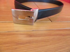 Vintage Genuine Gucci Ladies Black Leather And Silver G Buckle Belt 31""
