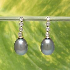 14k Yellow Solid Gold & Diamonds; Black Cultured Pearl Dangle Stud Earrings -TPJ