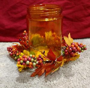 Better Homes & Gardens Sunflowers & Leaves Amber Glass Pillar Candle Holder