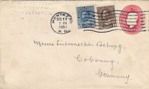 Canada 1921 GV Uprated 3c CC PSE Montreal to Cobourg Germany 10c Rate