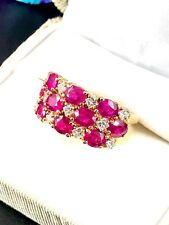 EFFY SOLID 14K YG 3.2 CTW OVAL RUBY ROYALE .55 CTW DIAMOND COCKTAIL RING SZ 9