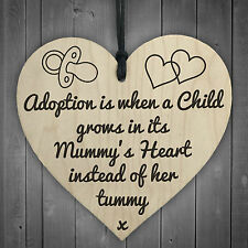 Adoption Is When A Child Grows In Mummys Heart Wooden Hanging Plaque Love Gift
