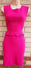 LOVE MAGENTA PINK STRIPE QUILTED FEEL PEPLUM RUFFLE BODYCON TUBE PARTY DRESS M L