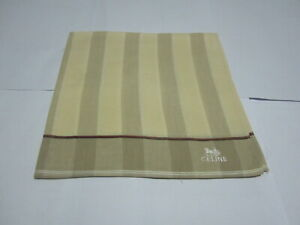 """USED IVORY STRIPED PATTERN COTTON 18"""" POCKET SQUARE HANDKERCHIEF FOR MEN"""