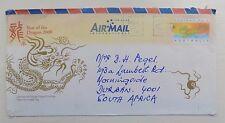 TIMBRO Australia 2000 ANNO DEL DRAGO busta posta aerea in Sud Africa