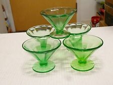 5 Vintage Vaseline Federal Glass Uranium Green Sundae Dish Dessert Cups EUC