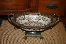 Quality Chinese Asian Footed Handled Fruit Bowl-Colorful Flowers-Brass Metal
