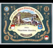 "ETIQUETTE ANCIENNE de VIN ""THUNGERSHEIMER JOHANNISBERG"" WURZBURG ALLEMAGNE 1968"