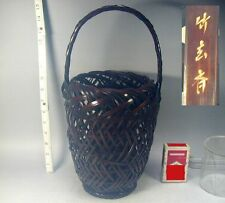 Ikebana #711 Japanese Vtg Bamboo Handle Flower Basket Vase by CHIKUGENSAI Japan