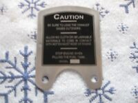 Maytag MODEL 92 caution plate SHORT DEEP TANK S-279