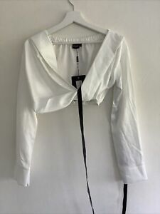 Pretty Little Thing White Satin Bardot Twist Front Crop Top Blouse - Size 6